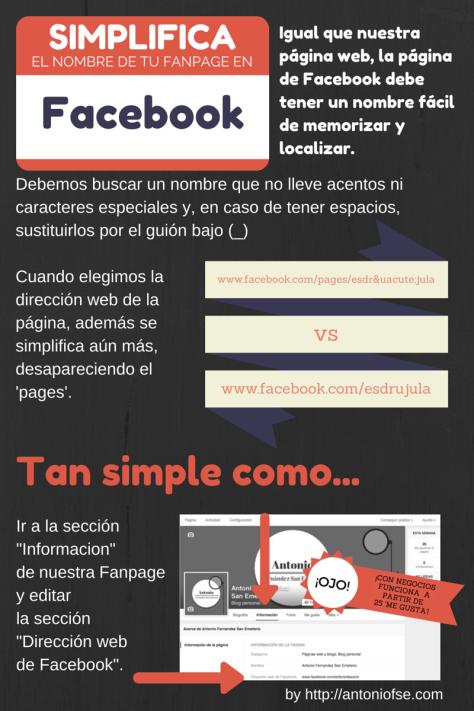 Infografía: Simplifica el nombre de tu fanpage en Facebook (actualizado)
