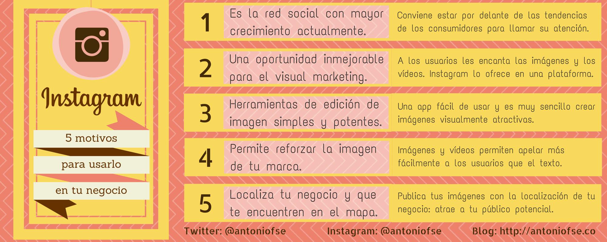Instagram - 5 motivos para usarlo en tu negocio - Infografía